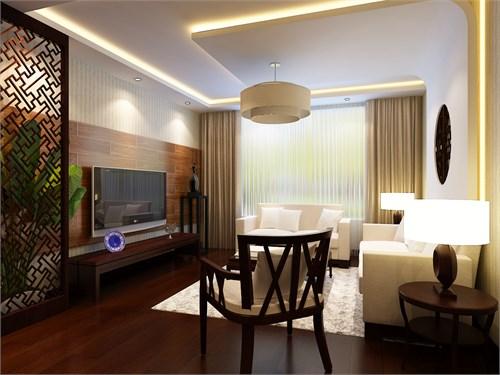 墙面大部分采用墙纸饰面,电视背景墙采用红杉木为装饰饰面;整铺实木