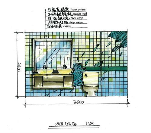 手绘室内顶棚平面图