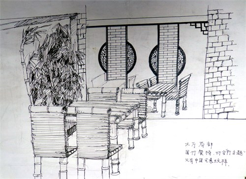 室内屏风手绘线稿