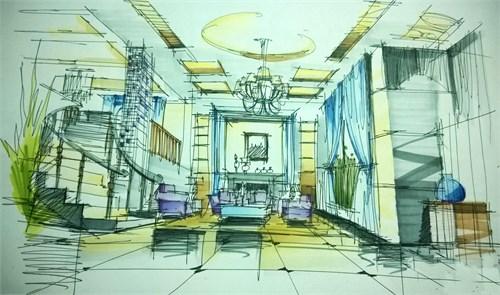 手绘欧式客厅室内设计手绘效果图 设计本装修效