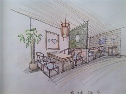 茶馆设计手绘效果图