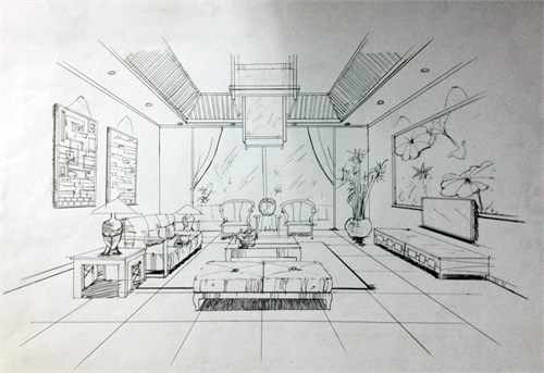 室内手绘线稿中式