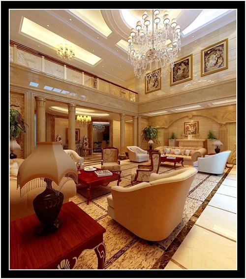 欧式客厅吊顶银铂