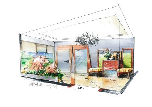 手绘房屋室外三视图