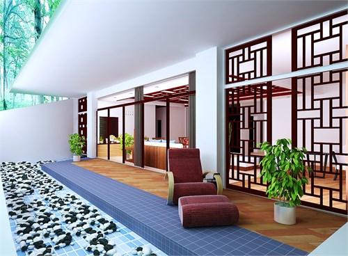 别墅客厅以及开敞式阳台的空间设计