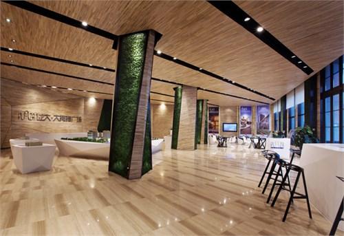 材料运用-----木纹大理石,复合式木地板,人造石,仿真绿植,不锈钢