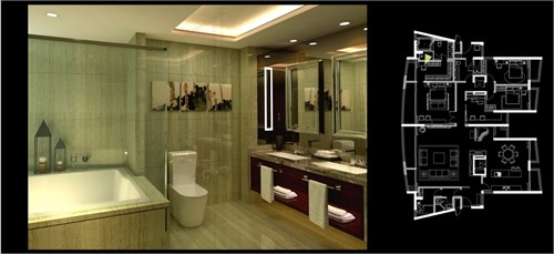 主人房洗手间效果图
