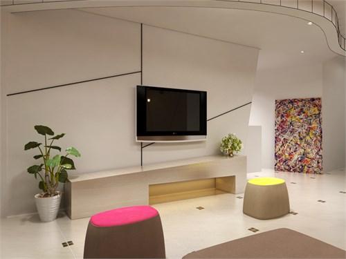 凸出的几何形电视背景墙,给人一种韵律感,节奏美.