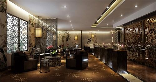 此案为一套新中式风格珠宝会所设计,古朴禅意图片