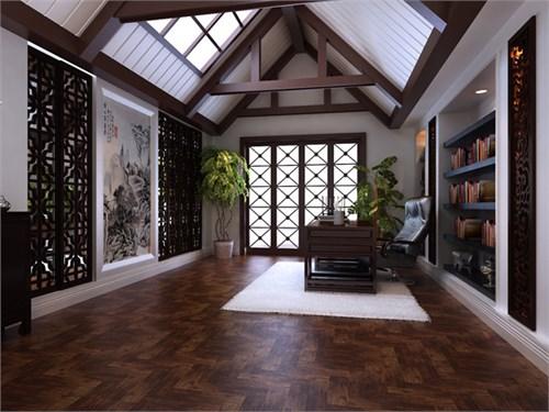 中式书房最好要有大面积的窗户,但是本户型正好不能满足,所以设计师图片