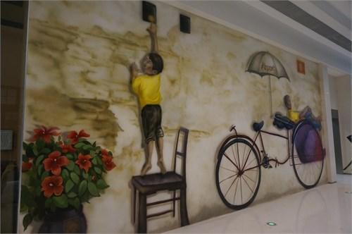 外墙具有马来西亚风格的3d立体墙绘