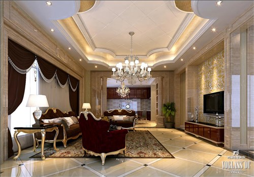 园中园一套中式与欧式新古典的混搭风格高端别墅装修