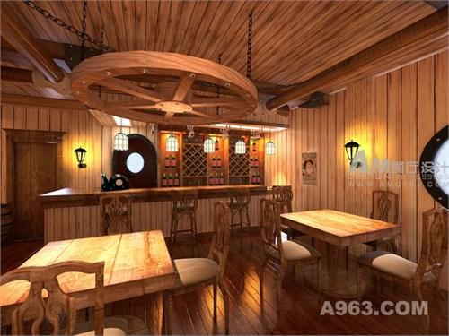 船王主题餐厅设计说明: 空间以黄金梅丽号和万里阳光号为空间装饰元素