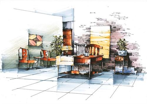 手绘(临摹和创作)_美国室内设计中文网