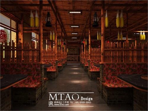 农家院主题餐厅效果图设计 农村风格高清图片
