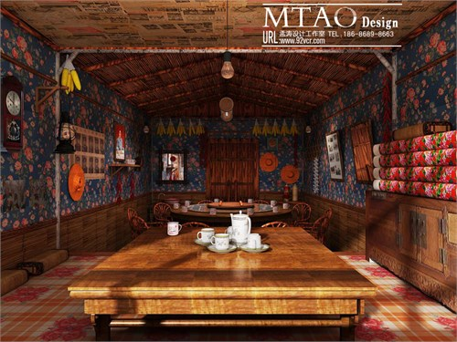 农家院主题餐厅效果图设计-农村风格