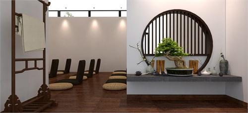 统一的设计思想和借鉴苏州园林造景手法,结合功能分区,室内布局空间