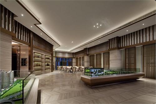 整个空间只用灰木纹石材和胡桃木穿插使每一个面都