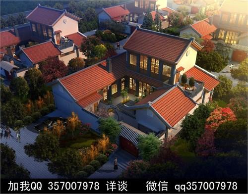 中式庭院设计案例手绘平面图
