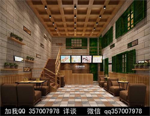 甜品店装修效果图 方柱 中式装修 花基 盘栽 包柱 防火板 实木地板 收银高清图片