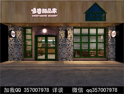 甜品店装修效果图 方柱 中式装修 花基 盘栽 包柱 防火板 实木地板
