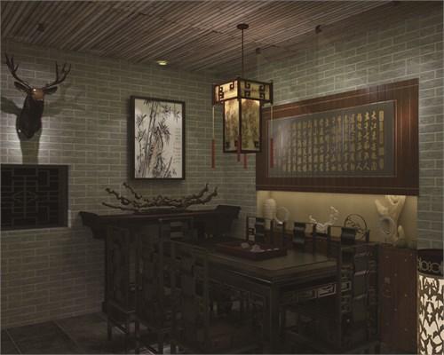 禅茶室装修手绘效果图