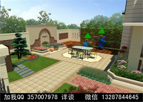 欧式庭院 院落效果图 露台效果图 别墅庭院 假山-庭院设计案例效果图2