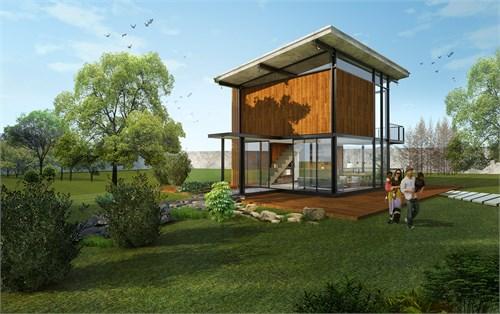 建筑采用轻钢结构,简单的体块分割