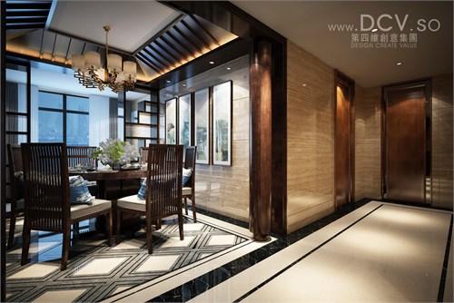 柱子作为视觉的划分,而品茶区和餐厅则使用中式传统的博古架作为分割图片