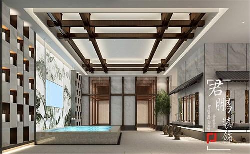 在洗浴中心休息区设计时,我们以木结构为元素,展现出安阳殷商古建筑